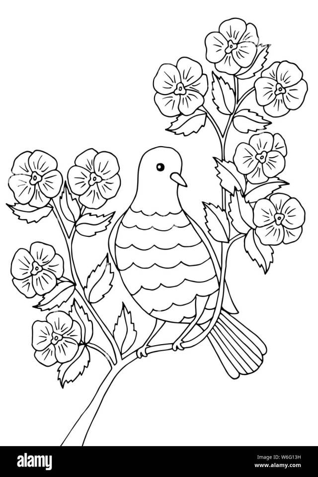 Bird sitting on a branch of a flowering tree, coloring page for
