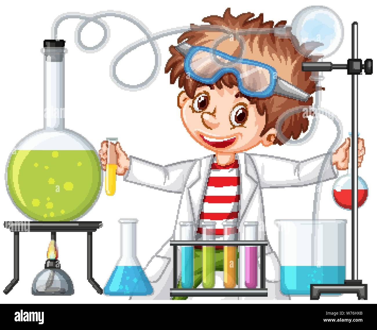Scientist Working With Science Tools In Lab Illustration