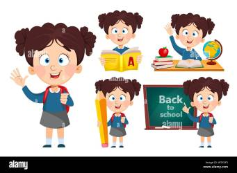 Back to school set of five poses Cute girl going to study Funny cartoon character Vector illustration Stock Vector Image & Art Alamy