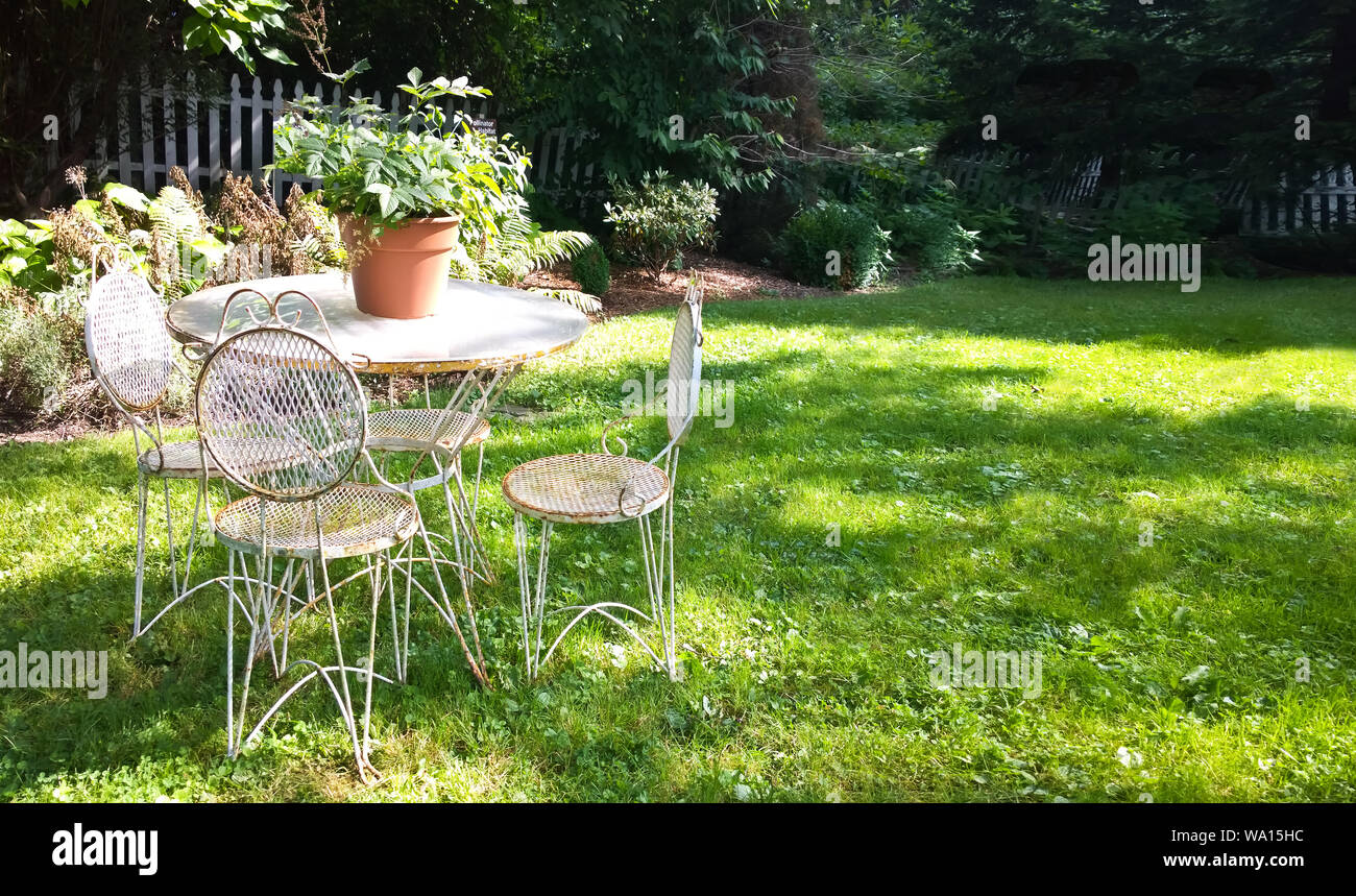 https www alamy com old fashioned outdoor furniture in a pretty backyard image264328440 html