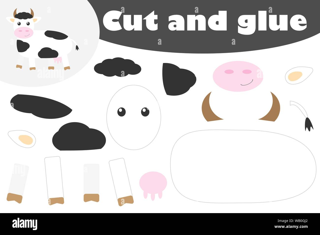 Cow In Cartoon Style Education Game For The Development