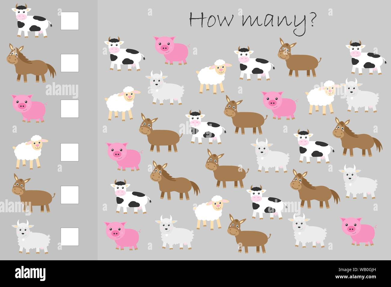 How Many Counting Game Farm Animals For Kids Educational
