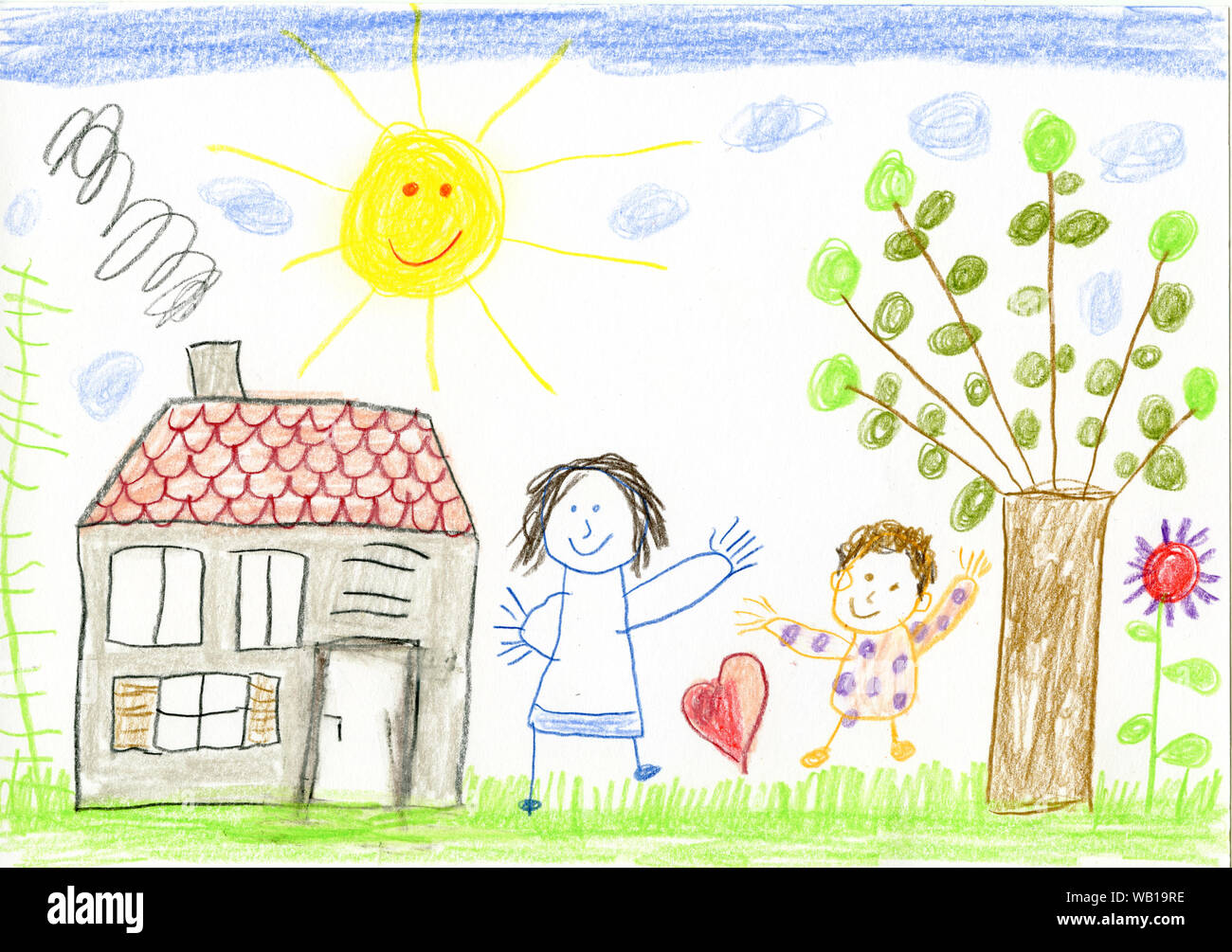 Childs Drawing House Garden High Resolution Stock Photography And Images Alamy