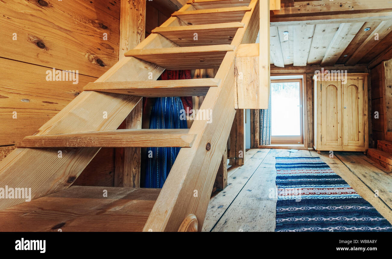 Interior Of Loft With Stairs Modern Design Of Wooden Stairs