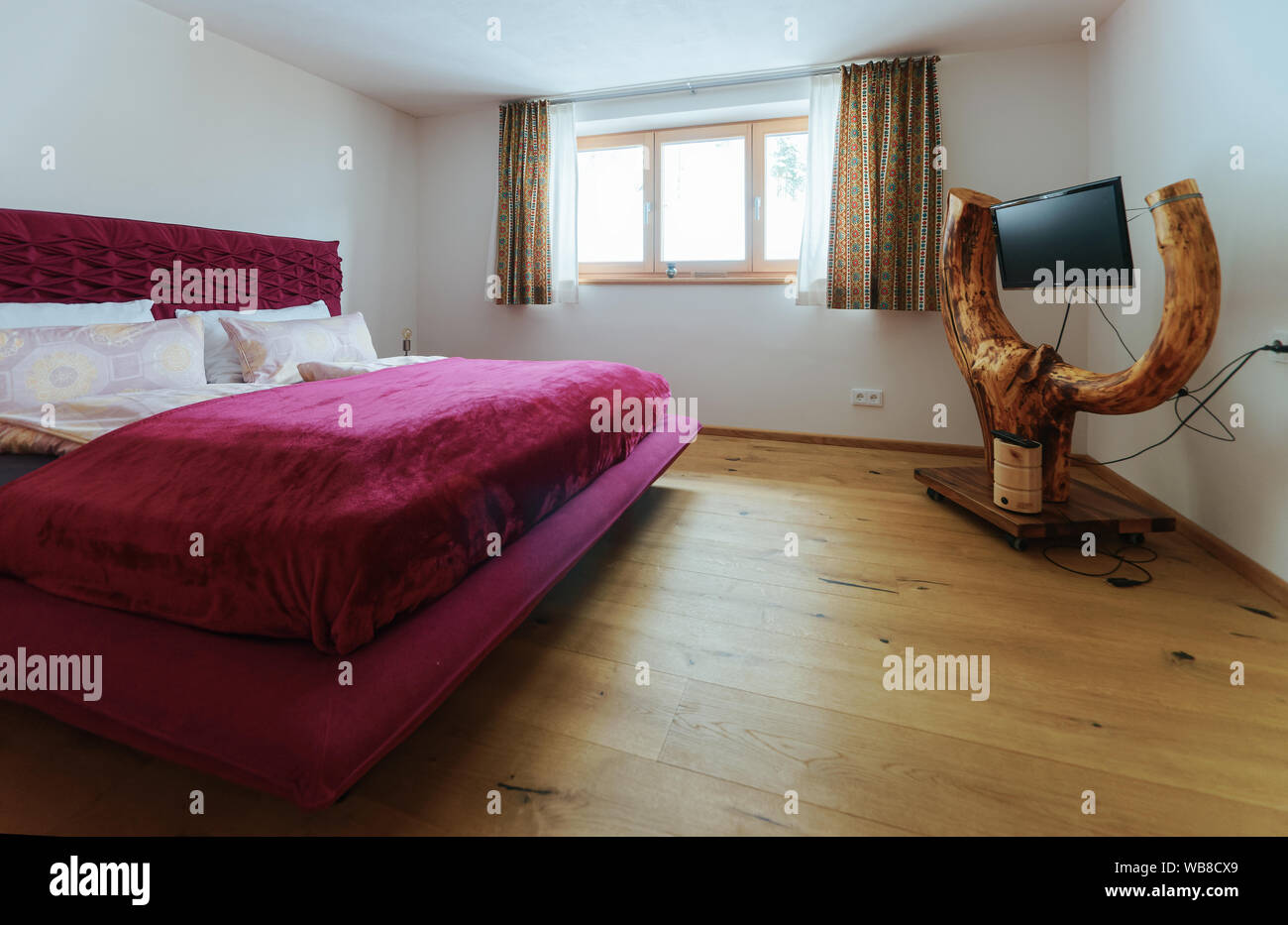 Interior Of Bedroom Modern Design Of Pink Bed With Tv