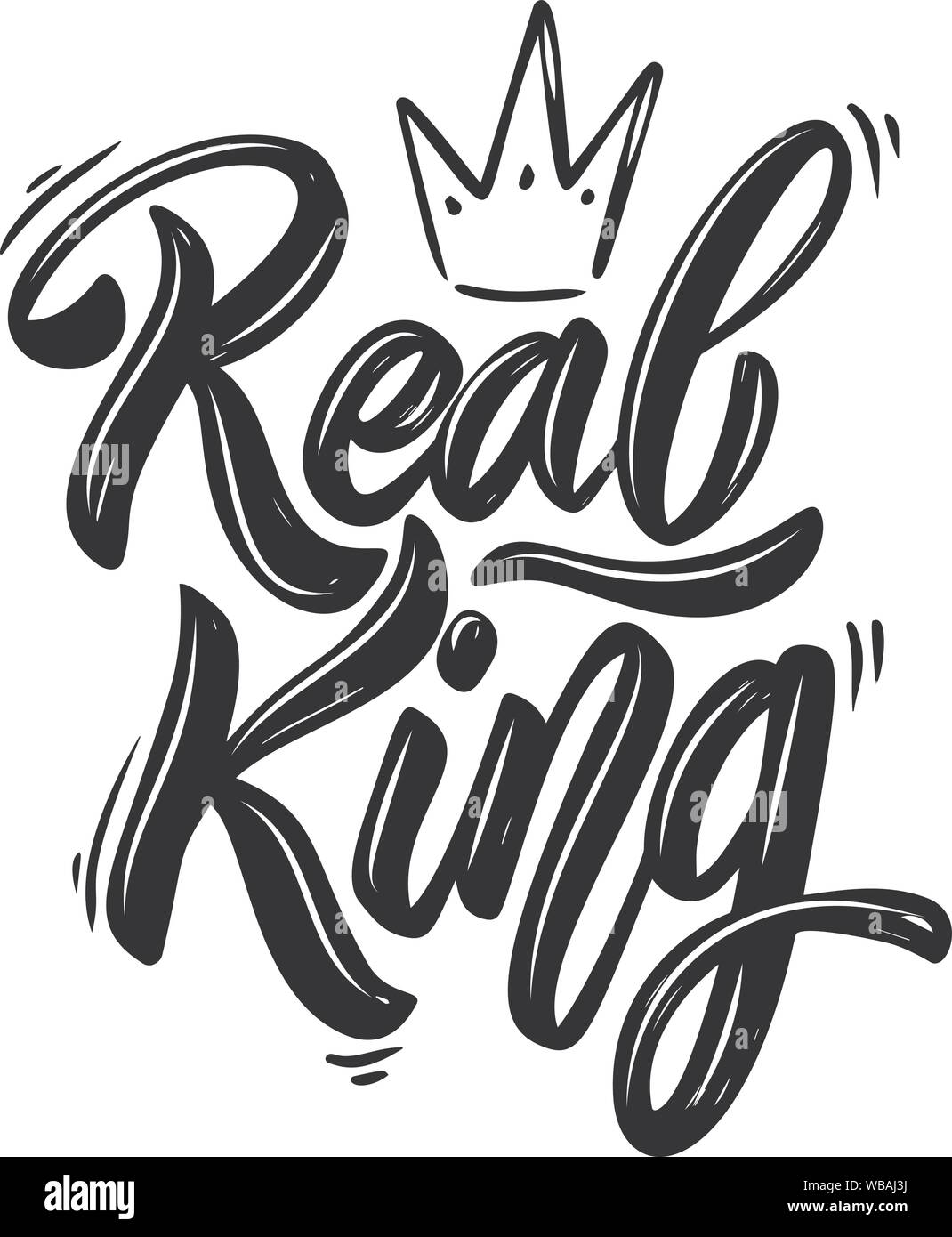 King Lettering : lettering, King., Lettering, Phrase, Crown, White, Background., Design, Element, Poster,, Banner,, Shirt,, Emblem., Vector, Illustration, Stock, Image, Alamy