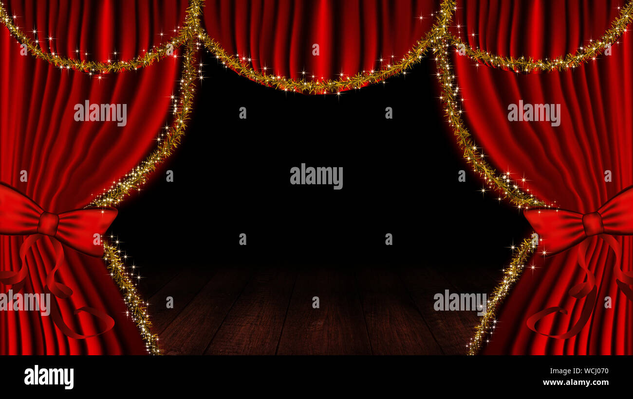 https www alamy com red stage theater curtain and wooden floor background image265926724 html