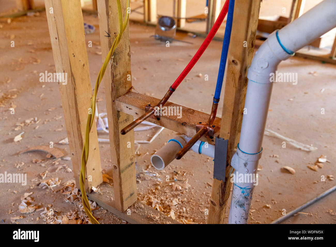 Pex Plumbing And Pvc Pipe Drain In New Home Construction Stock Photo Alamy