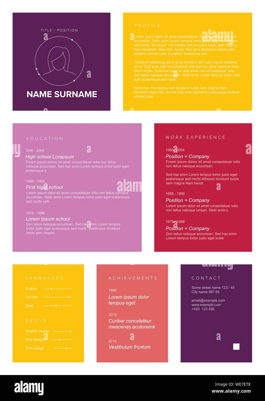 How to format resumes in microsoft office word with and without templates. Vector Female Minimalist Cv Resume Template With Color Blocks Design For Girls And Women Stock Vector Image Art Alamy