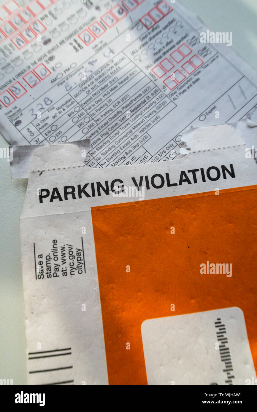 Nyc Gov Parking Tickets : parking, tickets, Parking, Violation, Envelop, Ticket,, Stock, Photo, Alamy