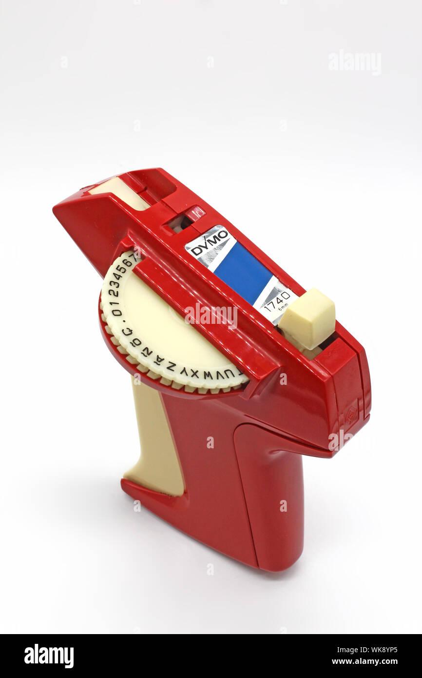 Old Label Maker : label, maker, Vintage, Plastic, Label, Maker,, Isolated, White, Background,, Close-up, Stock, Photo, Alamy