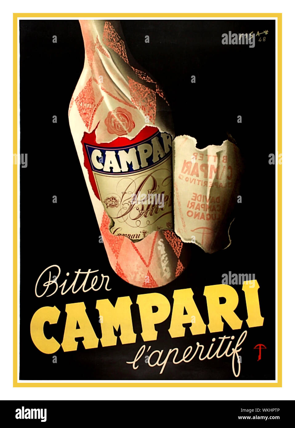 https www alamy com campari vintage drinks poster 1940s vintage drink advertising poster for campari italian bitter aperitif alcohol drink featuring design by carlo fisanotti fisa showing wrapping around a campari bottle being torn off to reveal its label and the words campari bitter set against a black background with the text below in stylised white and yellow letters full poster size printed in italy by a tub cie aarau lugano image270225110 html