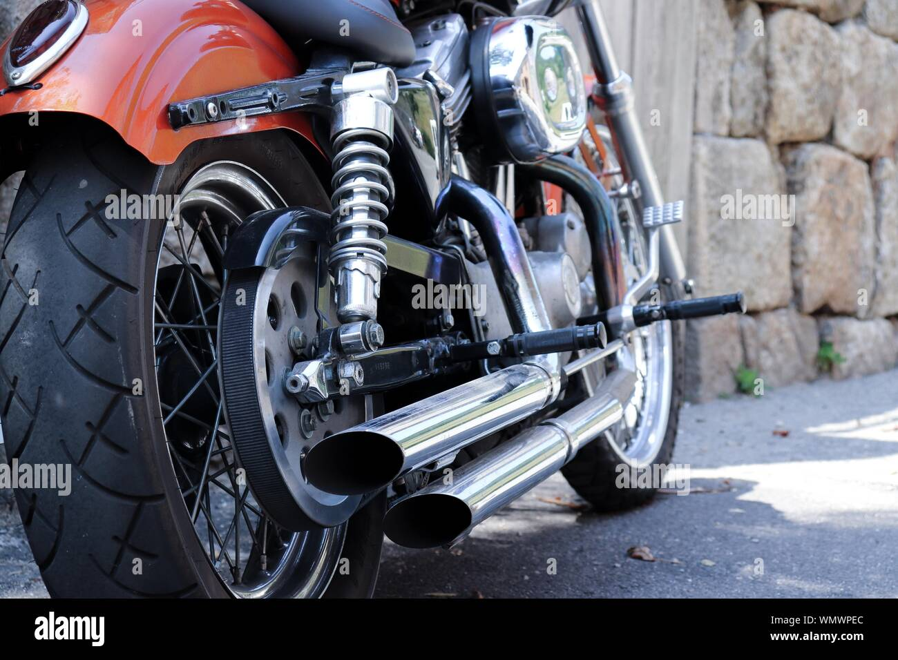 https www alamy com close shot of motorcycle exhaust pipe with a blurred background image271015092 html