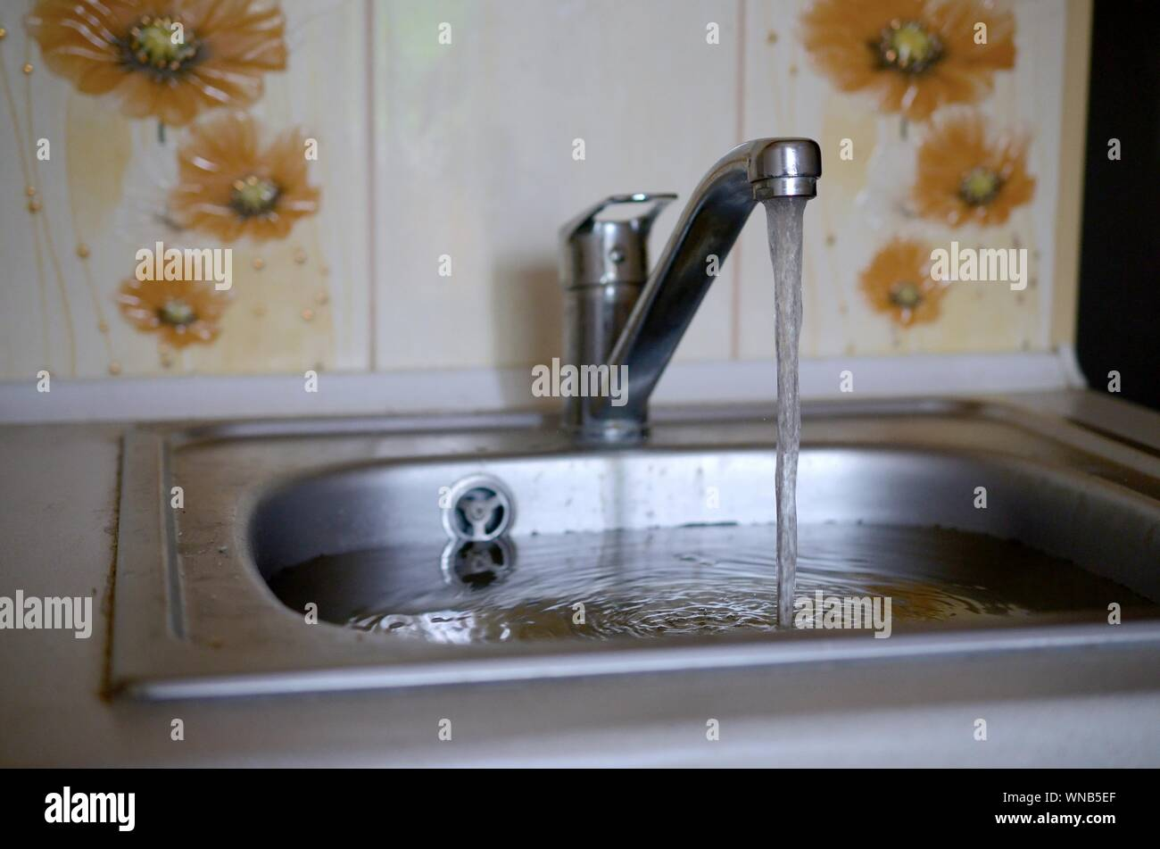 https www alamy com stainless steel sink plug hole close up full of water and particles of food overflowing kitchen sink clogged drain problems with the water supply image271309095 html