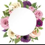 Vector Circle Background With Pink Purple Orange And White Roses Lisianthus And Anemone Flowers And Green Leaves Stock Vector Image Art Alamy