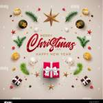 Merry Christmas And New Year Greeting Card Design Festive