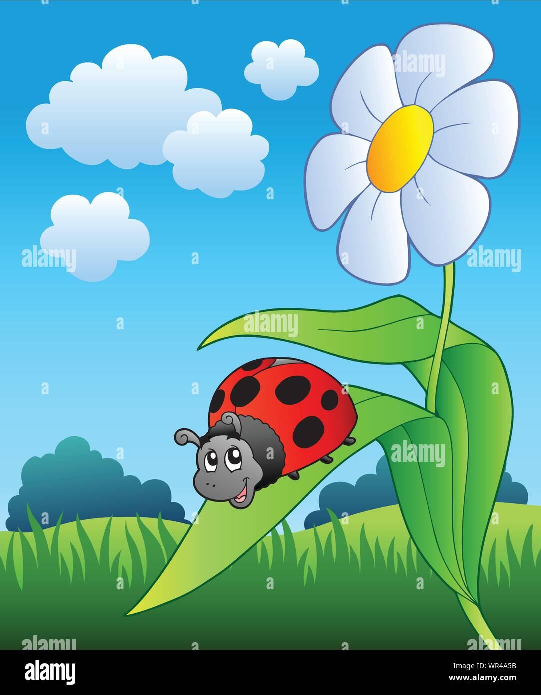 Ladybug On A Flower : ladybug, flower, Ladybug, Flower, Stock, Vector, Image, Alamy