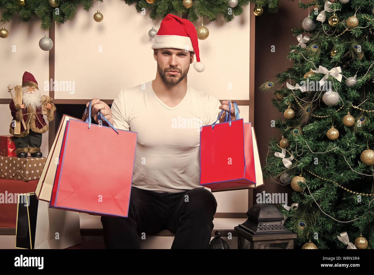 Online Christmas Shopping New Year Scene With Tree And Gifts Delivery Christmas Gifts Happy Santa Man The Morning Before Xmas Man In Santa Hat Hold Christmas Present Merry Christmas Best Offer Stock