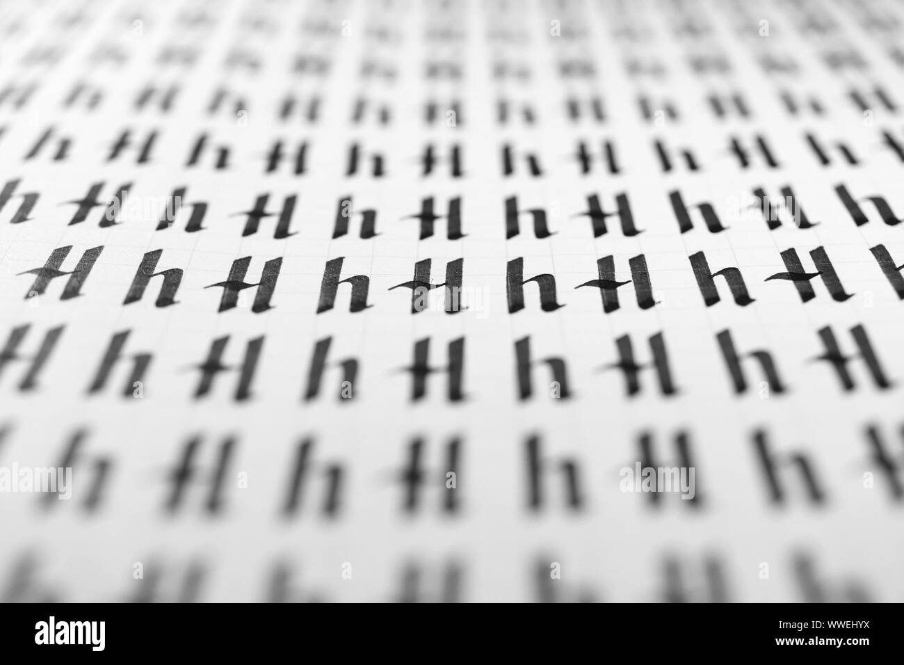 Calligraphy Black And White Letters H Background