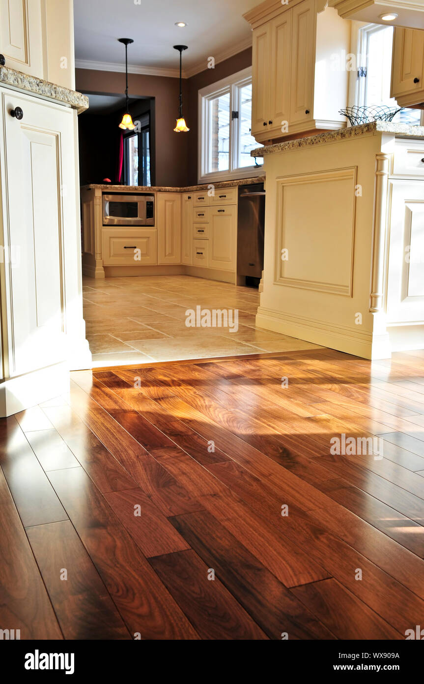 https www alamy com hardwood and tile floor in residential home kitchen and dining room image274334406 html