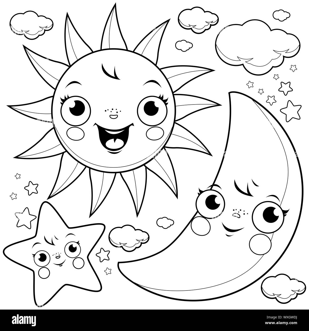 Drawing Moon Stars High Resolution Stock Photography And