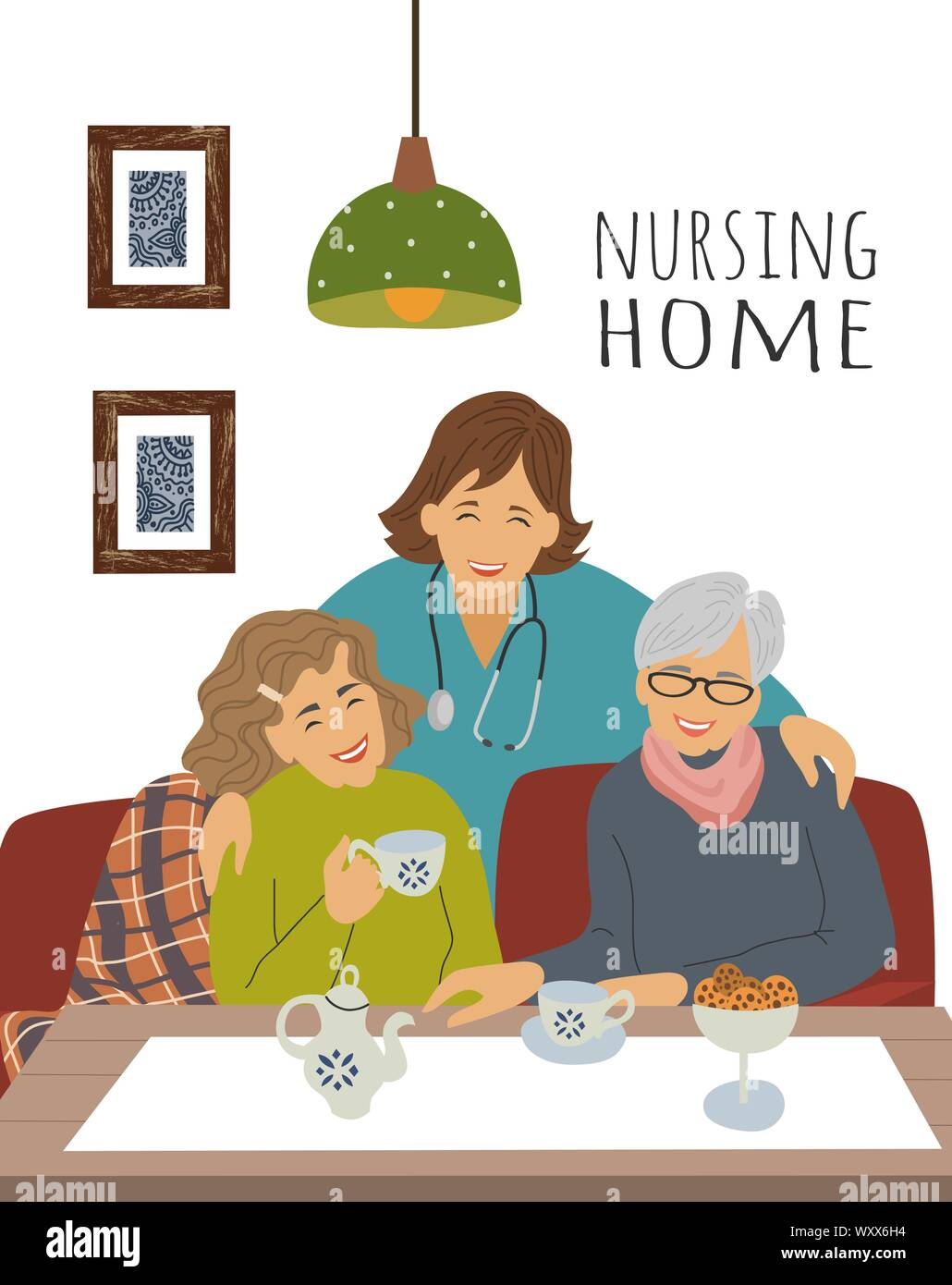 Nursing Home Cartoon : nursing, cartoon, Nursing, Home., Nurse, Cheerful, Elderly, Woman, Party., Celebration, Holiday, Social, Shelter., Vector, Illustration, Stock, Image, Alamy
