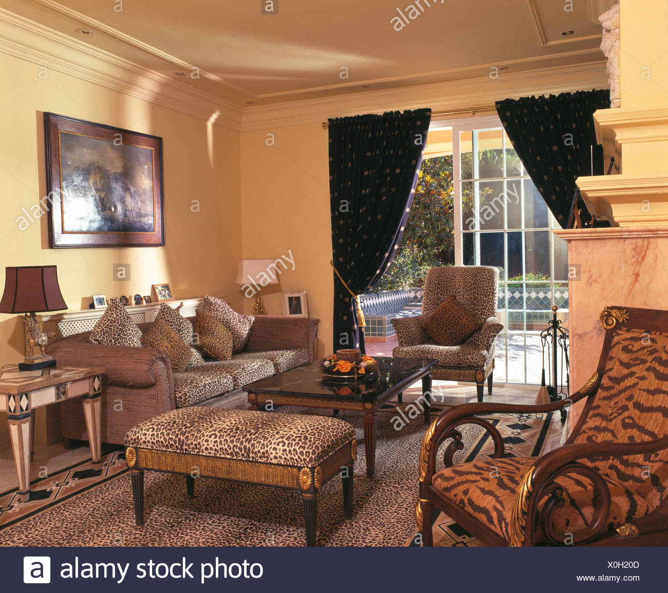 print chairs living room glass tables for tiger chair and leopard upholstered chairand stool in spanish country