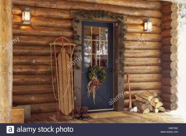 Christmas Decorations Log Cabin Door Stock