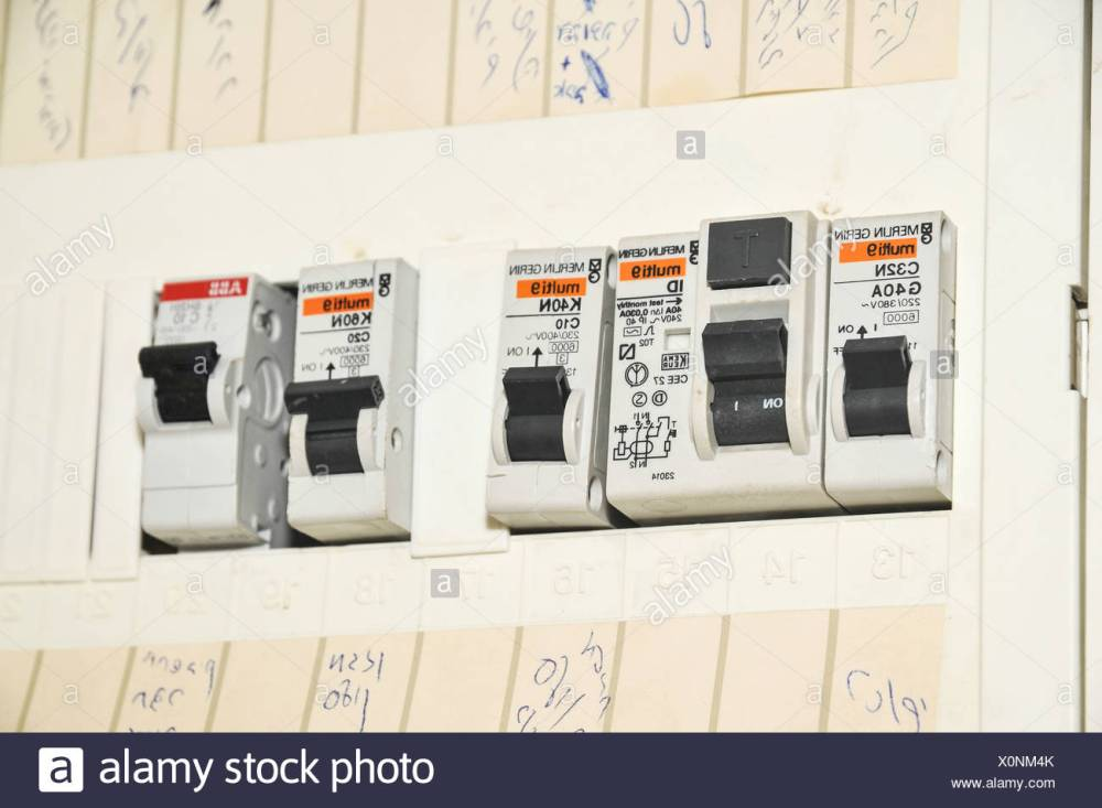 medium resolution of domestic fuse box close up stock image