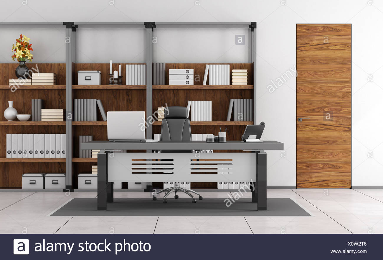 Minimalist Desk Chair Minimalist Office Modern Bookcase Desk Chair Laptop Stock Photos