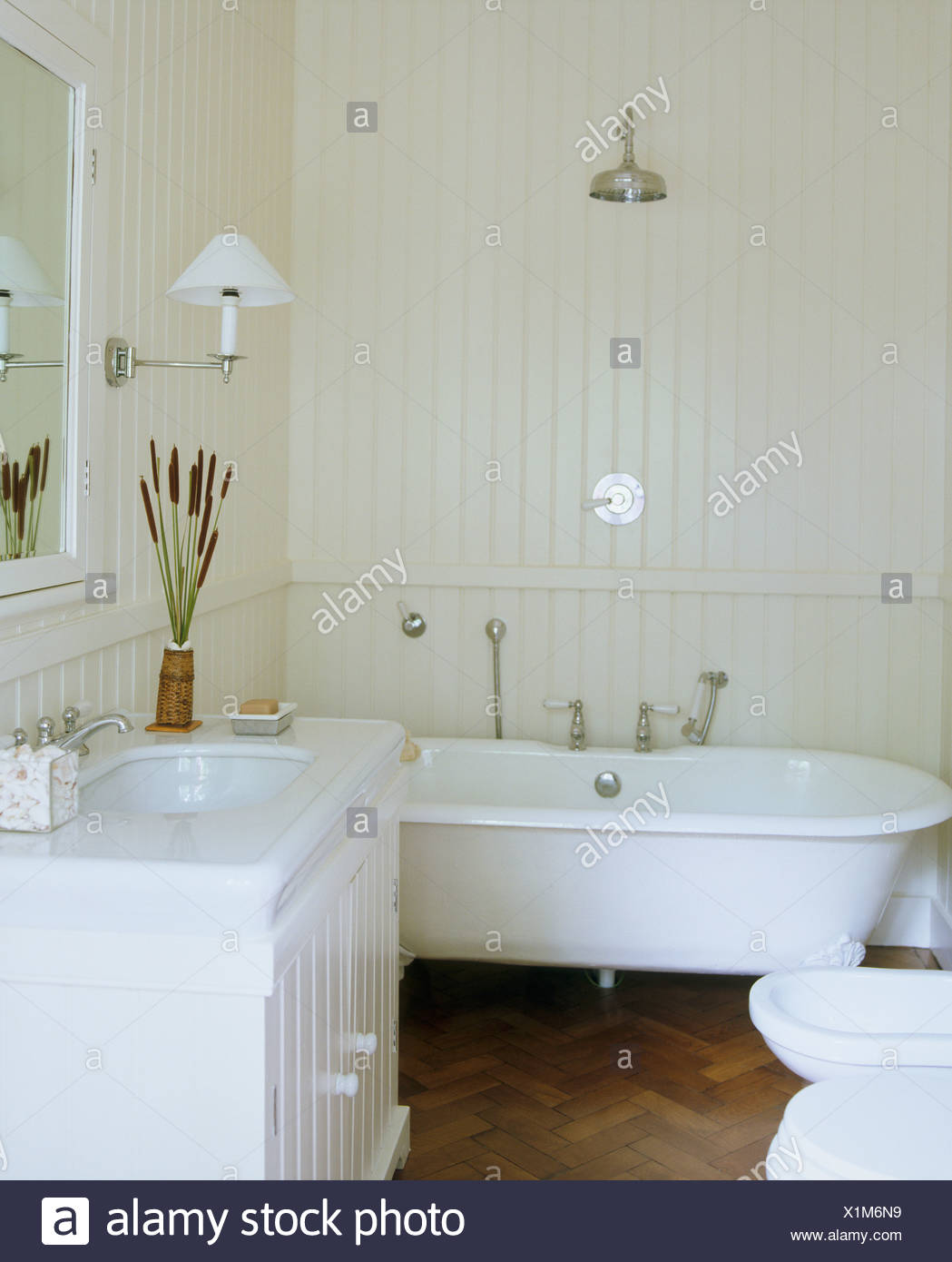 Paneling For Bathroom Chrome Shower Above Roll Top Bath In White Bathroom With White