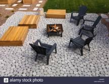 Paving Stone Patio With Adirondack Chairs Red Cedar