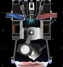 four stroke petrol engine stock image [ 919 x 1390 Pixel ]