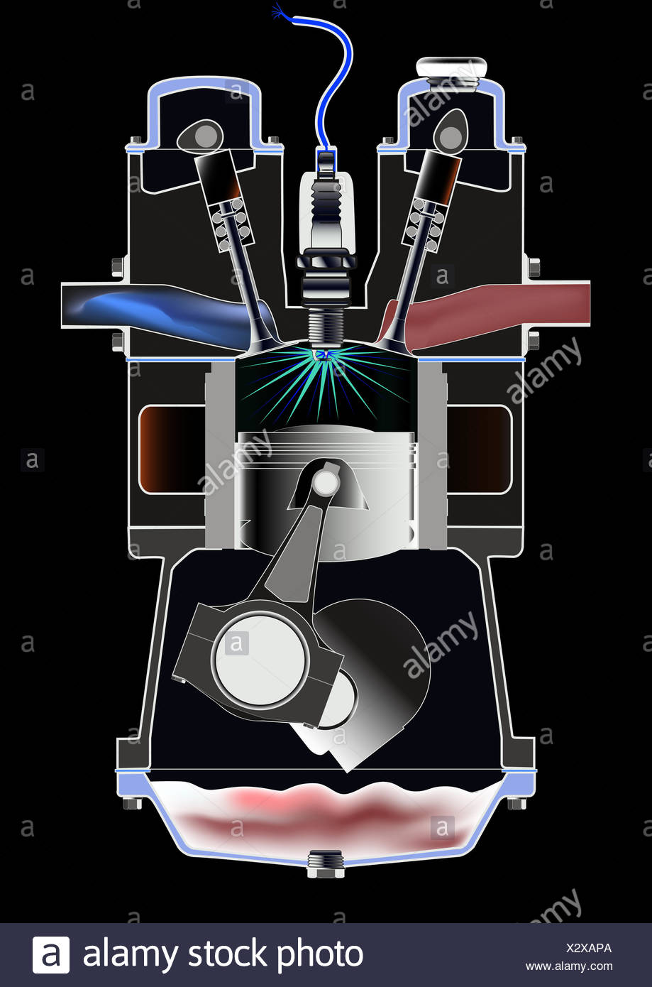 medium resolution of four stroke petrol engine stock image