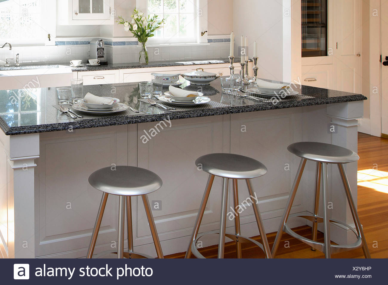 modern kitchen island with seating sink installation plan stock photos and images alamy