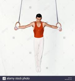 young male gymnast performing routine on rings stock image [ 1300 x 1390 Pixel ]