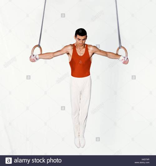 small resolution of young male gymnast performing routine on rings stock image