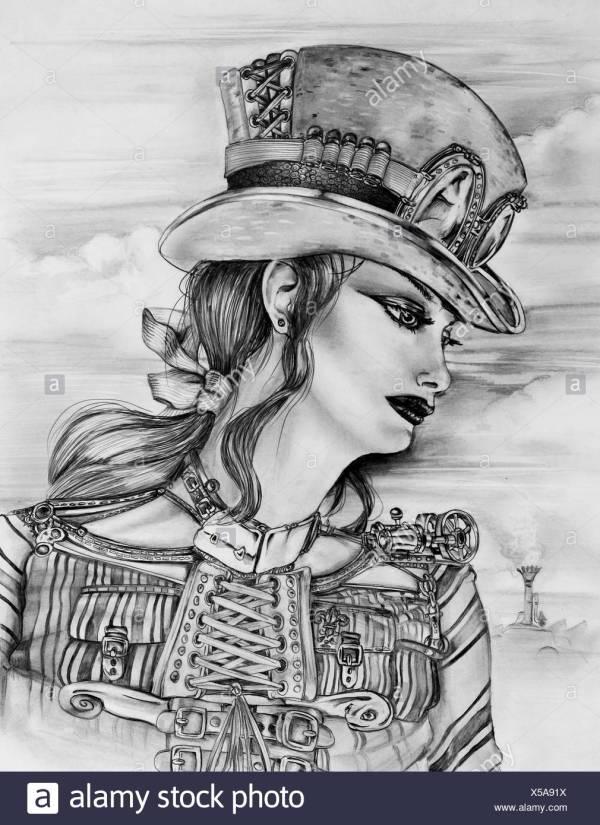 Punk Girl And Retro Black White Stock & - Alamy