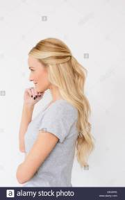 young woman with long blond wavy