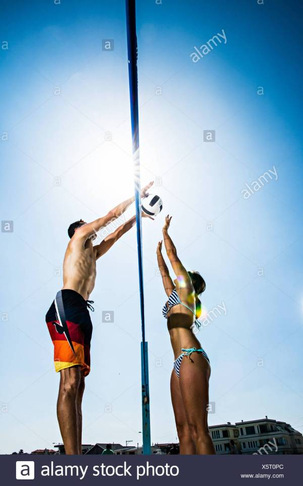 Beach Volleyball Players Stock &