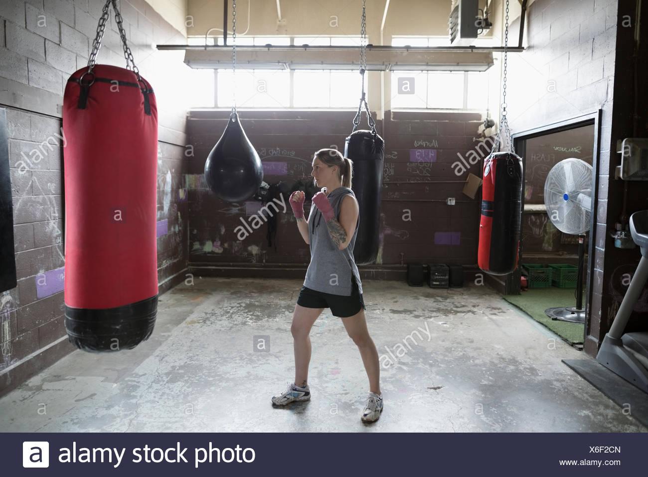 female boxer boxing at