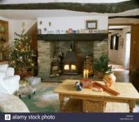Christmas Tree Beside Fireplace Stock Photos & Christmas ...