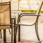White And Black Restaurant Chairs Outdoor Open Cafe Stock