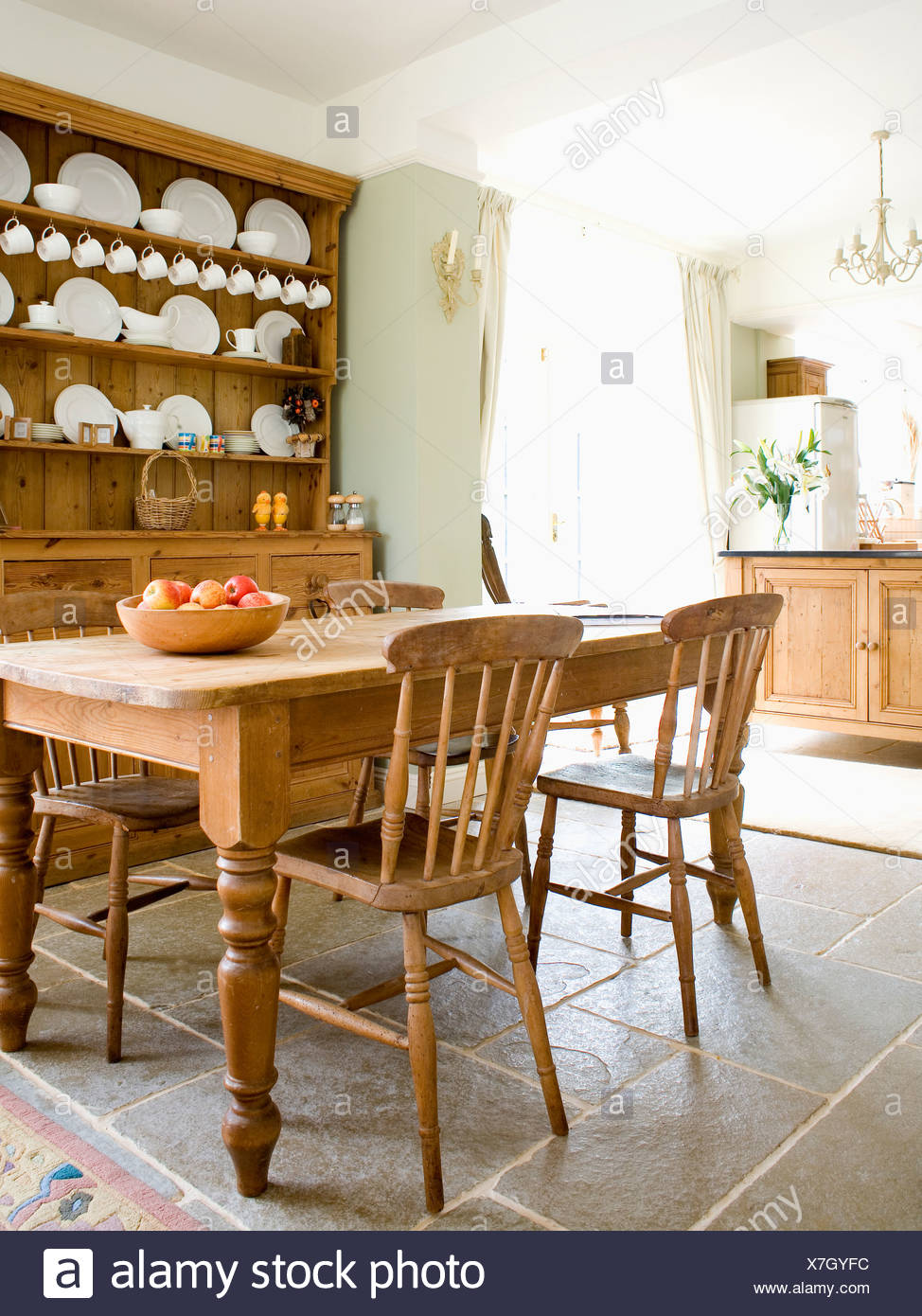Country Kitchen Chairs Old Pine Table And Chairs In Country Kitchen With Pine Dresser And
