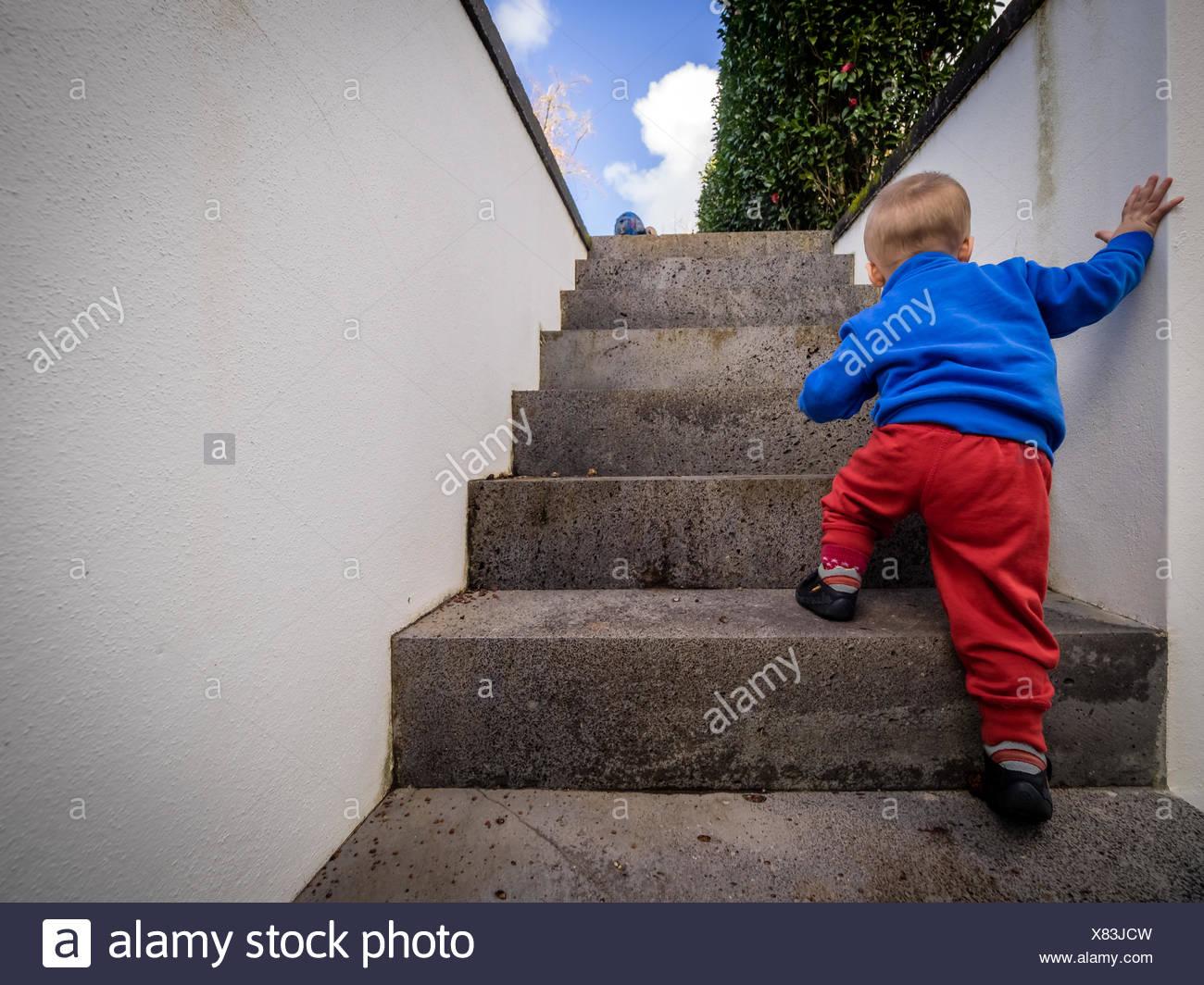 little boy climbing steps
