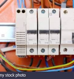 electrical installation close up electrical panel electricity distribution box with wires fuses and contactors [ 1300 x 956 Pixel ]