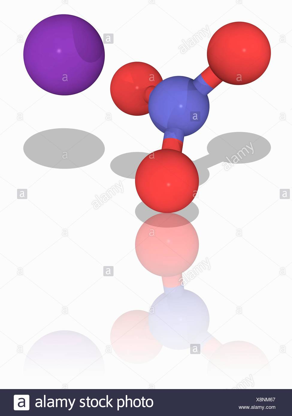 hight resolution of molecular model of the inorganic chemical compound potassium nitrate kno3
