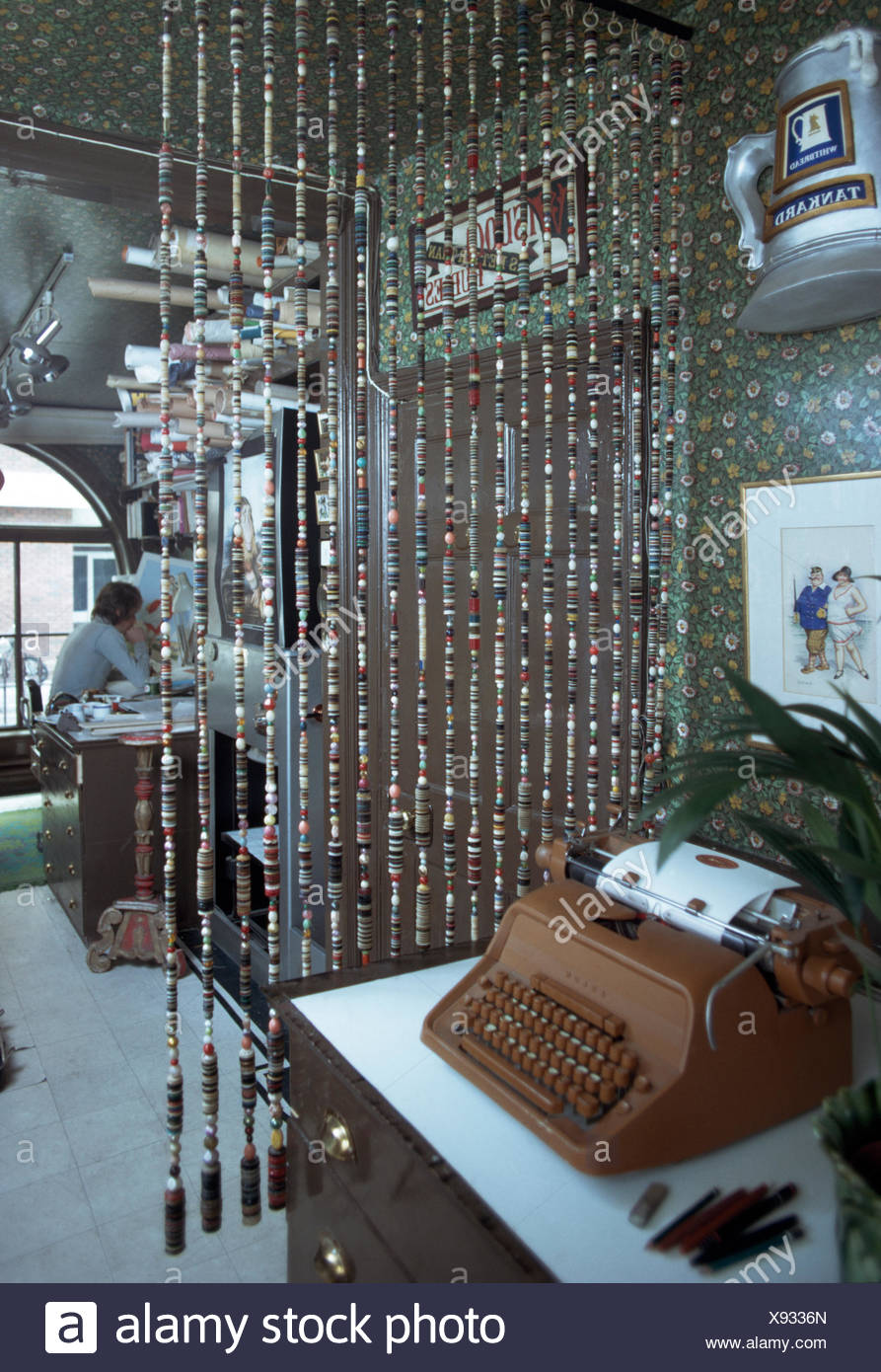 https www alamy com vintage typewriter and bead curtain in seventies study image280966189 html