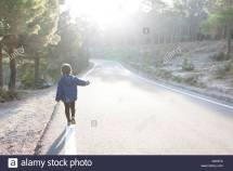 Hitchhiking Child Stock &