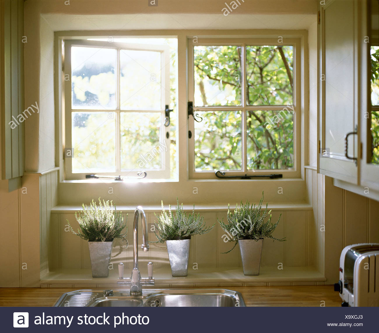 open kitchen sink pottery barn hutch white heather in steel pots below casement window above
